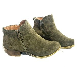 Lucky Brand Olive Green Zipper Ankle Booties